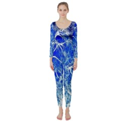 Winter Blue Moon Fractal Forest Background Long Sleeve Catsuit