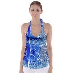 Winter Blue Moon Fractal Forest Background Babydoll Tankini Top