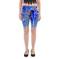 Winter Blue Moon Fractal Forest Background Yoga Cropped Leggings