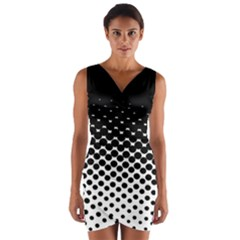 Halftone Gradient Pattern Wrap Front Bodycon Dress