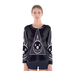 Abstract Pigs Triangle Women s Long Sleeve Tee