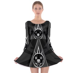 Abstract Pigs Triangle Long Sleeve Skater Dress