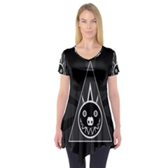 Abstract Pigs Triangle Short Sleeve Tunic