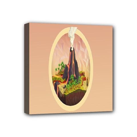 Digital Art Minimalism Nature Simple Background Palm Trees Volcano Eruption Lava Smoke Low Poly Circ Mini Canvas 4  X 4