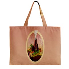 Digital Art Minimalism Nature Simple Background Palm Trees Volcano Eruption Lava Smoke Low Poly Circ Zipper Mini Tote Bag