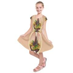 Digital Art Minimalism Nature Simple Background Palm Trees Volcano Eruption Lava Smoke Low Poly Circ Kids  Short Sleeve Dress