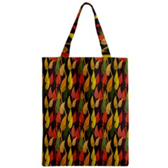 Colorful Leaves Yellow Red Green Grey Rainbow Leaf Zipper Classic Tote Bag