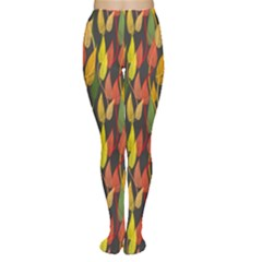 Colorful Leaves Yellow Red Green Grey Rainbow Leaf Women s Tights
