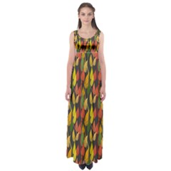 Colorful Leaves Yellow Red Green Grey Rainbow Leaf Empire Waist Maxi Dress