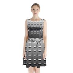 Gradient Oval Pattern Sleeveless Chiffon Waist Tie Dress