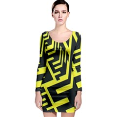 Pattern Abstract Long Sleeve Bodycon Dress