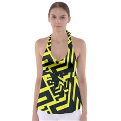 Pattern Abstract Babydoll Tankini Top