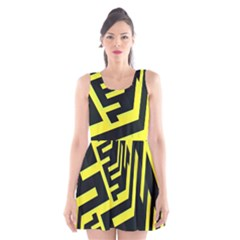 Pattern Abstract Scoop Neck Skater Dress