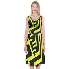 Pattern Abstract Midi Sleeveless Dress