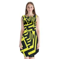 Pattern Abstract Sleeveless Chiffon Dress