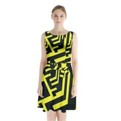 Pattern Abstract Sleeveless Chiffon Waist Tie Dress