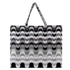 Chevron Wave Triangle Waves Grey Black Zipper Large Tote Bag