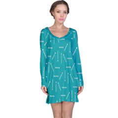 Digital Art Minimalism Abstract Candles Blue Background Fire Long Sleeve Nightdress