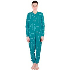 Digital Art Minimalism Abstract Candles Blue Background Fire OnePiece Jumpsuit (Ladies)