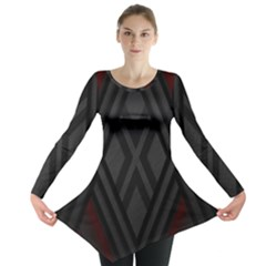 Abstract Dark Simple Red Long Sleeve Tunic