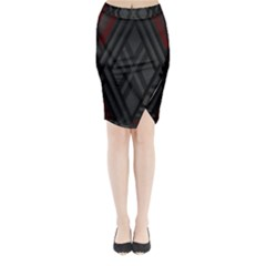 Abstract Dark Simple Red Midi Wrap Pencil Skirt