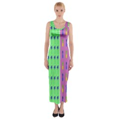 Eye Coconut Palms Lips Pineapple Pink Green Red Yellow Fitted Maxi Dress