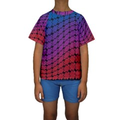 Colorful Red & Blue Gradient Background Kids  Short Sleeve Swimwear