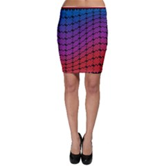 Colorful Red & Blue Gradient Background Bodycon Skirt