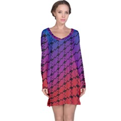 Colorful Red & Blue Gradient Background Long Sleeve Nightdress