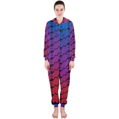 Colorful Red & Blue Gradient Background Hooded Jumpsuit (Ladies)