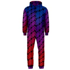 Colorful Red & Blue Gradient Background Hooded Jumpsuit (men)