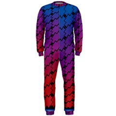 Colorful Red & Blue Gradient Background Onepiece Jumpsuit (men)