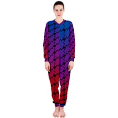 Colorful Red & Blue Gradient Background OnePiece Jumpsuit (Ladies)