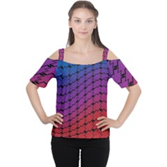 Colorful Red & Blue Gradient Background Women s Cutout Shoulder Tee