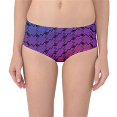 Colorful Red & Blue Gradient Background Mid-Waist Bikini Bottoms
