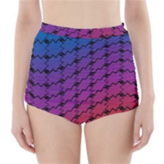 Colorful Red & Blue Gradient Background High Waisted Bikini Bottoms