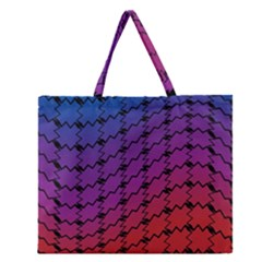 Colorful Red & Blue Gradient Background Zipper Large Tote Bag