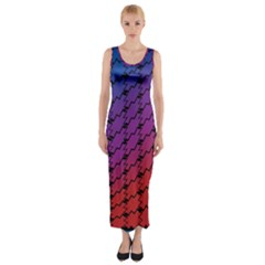 Colorful Red & Blue Gradient Background Fitted Maxi Dress