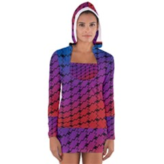 Colorful Red & Blue Gradient Background Women s Long Sleeve Hooded T Shirt