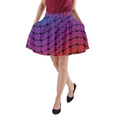 Colorful Red & Blue Gradient Background A-Line Pocket Skirt