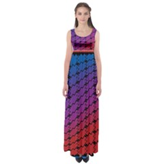 Colorful Red & Blue Gradient Background Empire Waist Maxi Dress