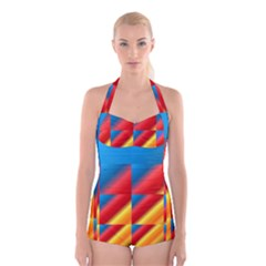 Gradient Map Filter Pack Table Boyleg Halter Swimsuit