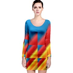 Gradient Map Filter Pack Table Long Sleeve Bodycon Dress