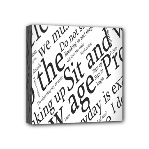 Abstract Minimalistic Text Typography Grayscale Focused Into Newspaper Mini Canvas 4  X 4