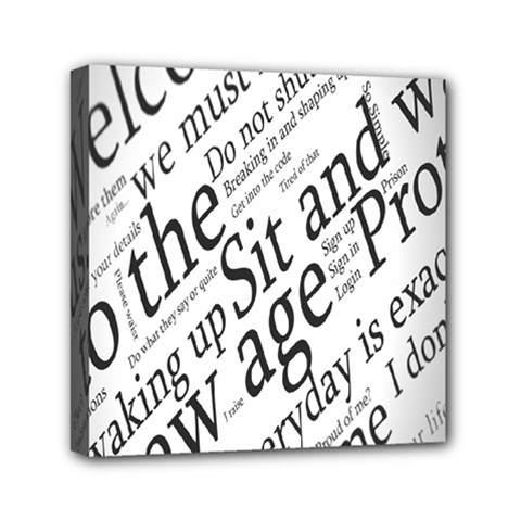 Abstract Minimalistic Text Typography Grayscale Focused Into Newspaper Mini Canvas 6  X 6