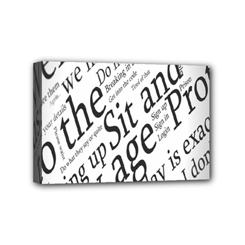 Abstract Minimalistic Text Typography Grayscale Focused Into Newspaper Mini Canvas 6  x 4