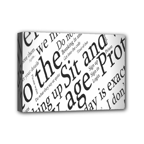 Abstract Minimalistic Text Typography Grayscale Focused Into Newspaper Mini Canvas 7  X 5