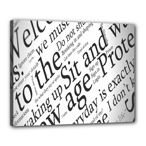 Abstract Minimalistic Text Typography Grayscale Focused Into Newspaper Canvas 20  x 16