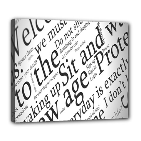 Abstract Minimalistic Text Typography Grayscale Focused Into Newspaper Deluxe Canvas 24  x 20
