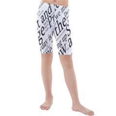 Abstract Minimalistic Text Typography Grayscale Focused Into Newspaper Kids  Mid Length Swim Shorts